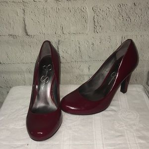 Jessica Simpson red wine colored heels